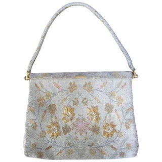 Exquisite Glass Beaded Floral Evening Bag Ca 1960 For Sale