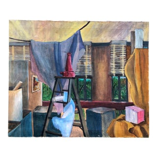 """Vintage Painting Still Life """"Apartment Life"""" For Sale"""