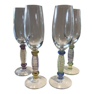 Handblown Art Glass Champagne Glasses - Set of 4 For Sale