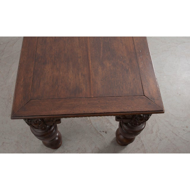 French 18th Century Elizabethan-Style Hand-Carved Oak Center Table For Sale - Image 12 of 13