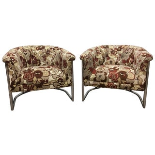 Cantilever Tubular Barrel Chairs - A Pair For Sale