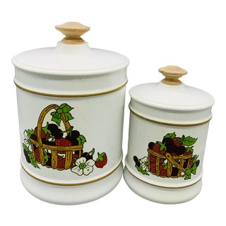 Vintage Kromex Strawberry Canisters - Set of 2 For Sale