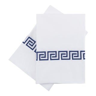 Greek Key Standard Pillowcases in Navy - a Pair For Sale