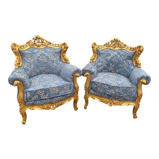 1940s Vintage Baroque/Rococo Style Blue Damask Chairs - a Pair For Sale