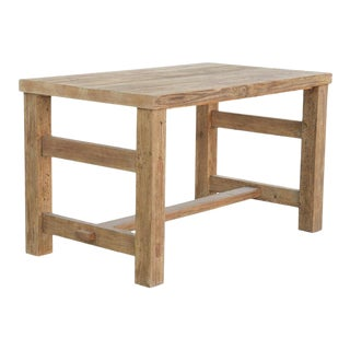Rustic Butcher Block Kitchen Island Made From Reclaimed Pine For Sale
