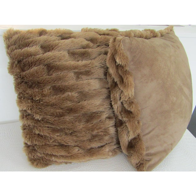 A pair of faux fur pillows featuring woven fronts. Each pillow is 18 inches square and custom made/new. They have karate...