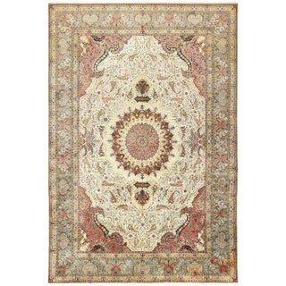 Vintage Persian Tabriz Woven Silk and Wool Rug - 11′4″ × 16′10″ For Sale