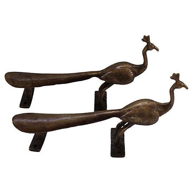 Etched Brass Peacock Door Handles - A Pair - Image 1 of 6