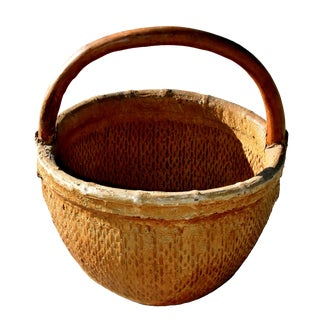 20th Century Chinese Country Willow Basket With Tree Branch Handle For Sale