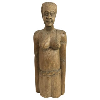 Hand Carved African Wood Statue For Sale