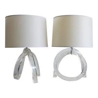 Dorothy Thorpe Lucite Pretzel Lamps - A Pair For Sale