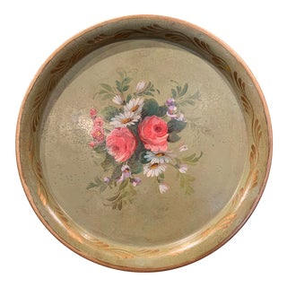 19th Century French Hand Painted Tole Tray With Flowers and Foliage For Sale