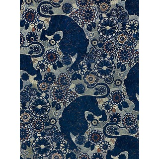 Sample, Scalamandre Siberian Tiger, Sapphire Flame Fabric For Sale