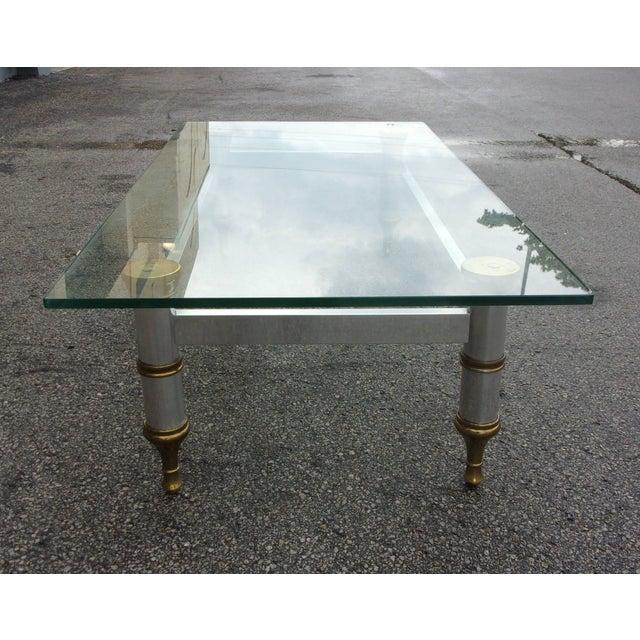 Mid-Century Aluminum & Brass Coffee Table - Image 8 of 11