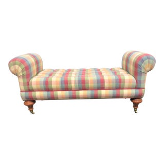 Brandywine Design Regency Style Plaid Tufted Bench For Sale