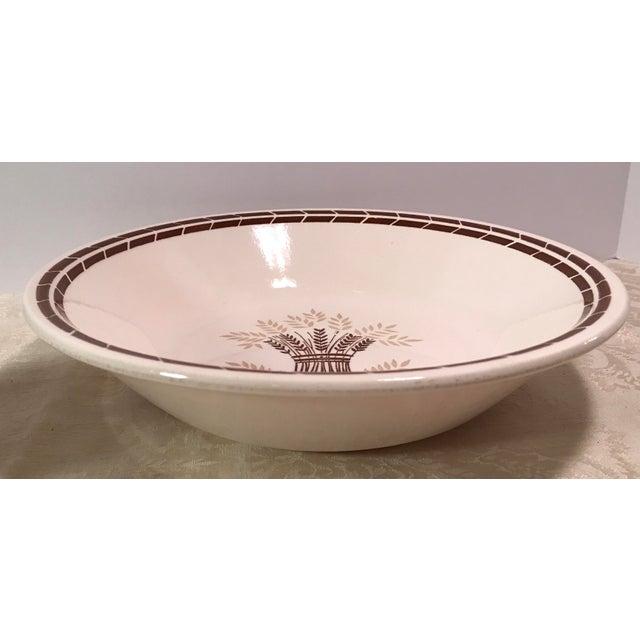 Mid-Century Modern Cream & Brown Wheat Serving Bowl - Image 2 of 8