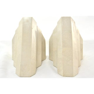 Deco-Style Tessellated Bone Bookends - a Pair Preview