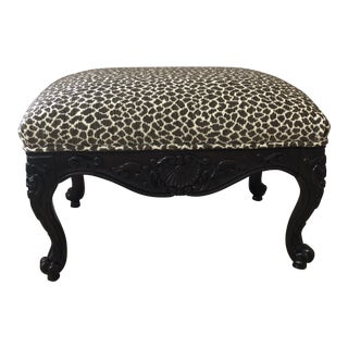 Modern French Claw Feet in Leopard Print Footstool For Sale