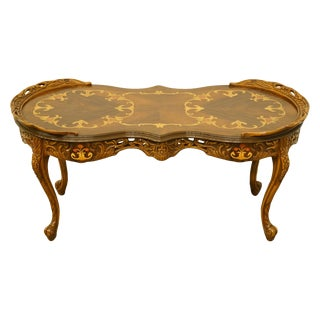 """1920's French Provincial Louis XVI Ornately Carved 41"""" Accent Coffee Table For Sale"""