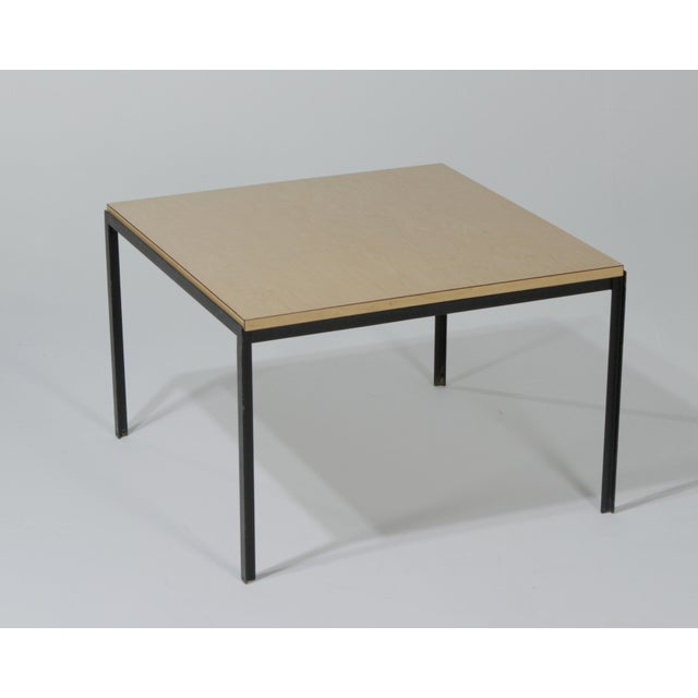 Iconic Florence Knoll T angle table with a birch laminate top. Early, pre Zip Code label. Made in the 1950s.