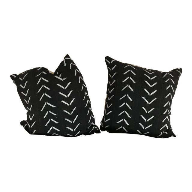 Black and White Handwoven African Pillows - a Pair For Sale