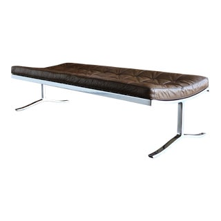 Nico Zographos Leather & Stainless Steel Bench 1975 For Sale