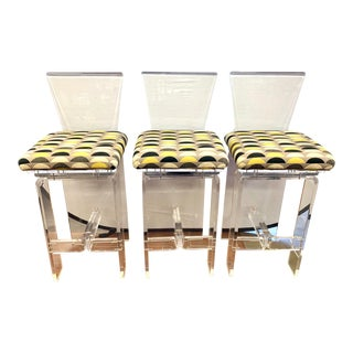 Vintage Lucite Swivel Bar Stools, Set of 3 For Sale