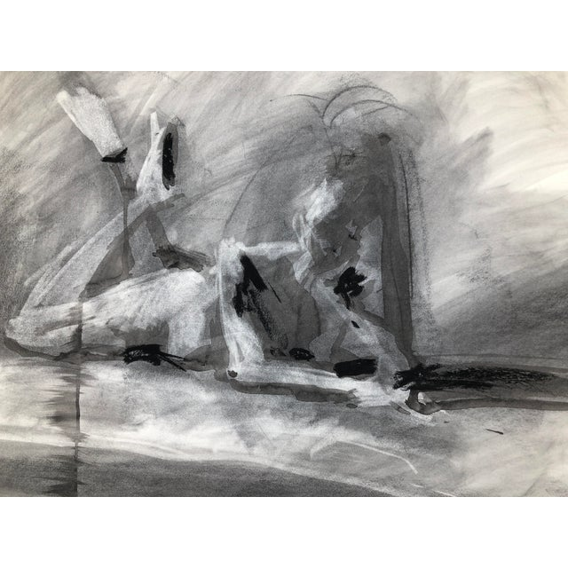 """Light Gray Contemporary Figure Drawing in Charcoal and Ink - """"Idle, Crossed Feet"""", by Artist David O. Smith For Sale - Image 8 of 12"""