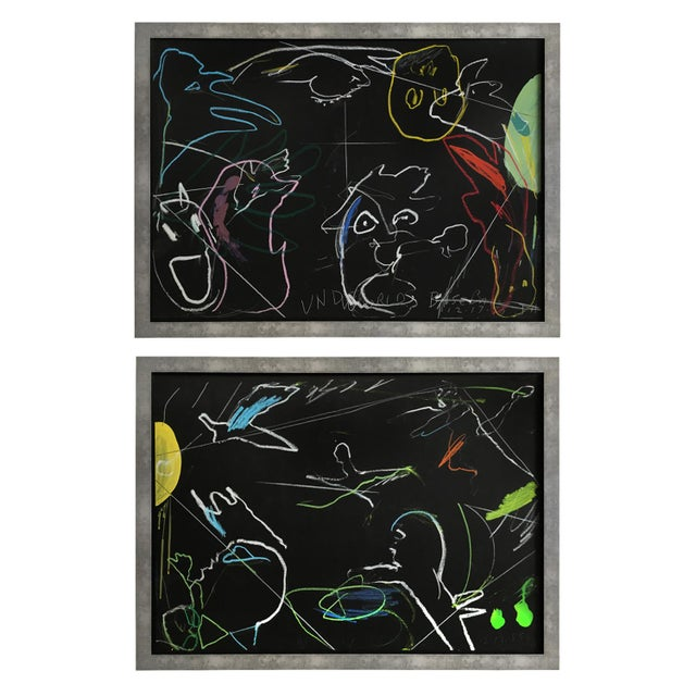 """""""Underworld Heavenly Baseball"""" Framed Drawings - a Pair For Sale - Image 13 of 13"""
