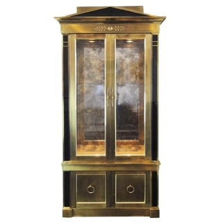 Mastercraft Empire Style Brass Vitrine Cabinet For Sale