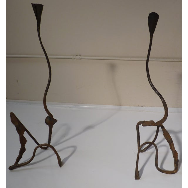 Pair of Vintage Forged Iron Candle Sticks - Image 2 of 6