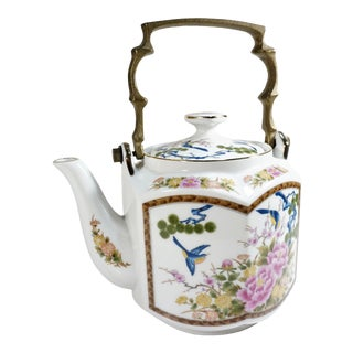 Japanese Porcelain Octagon Teapot With Brass Handle For Sale
