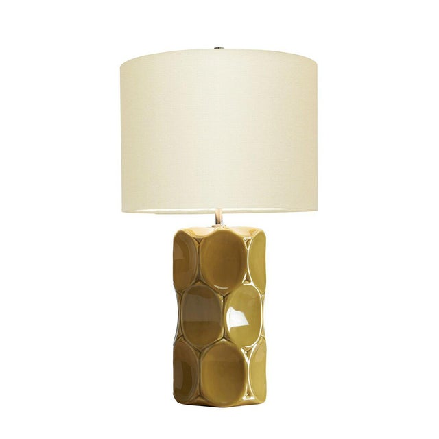 Modern Green Glaze Ceramic Retro Table Lamp With Shade For Sale - Image 4 of 5