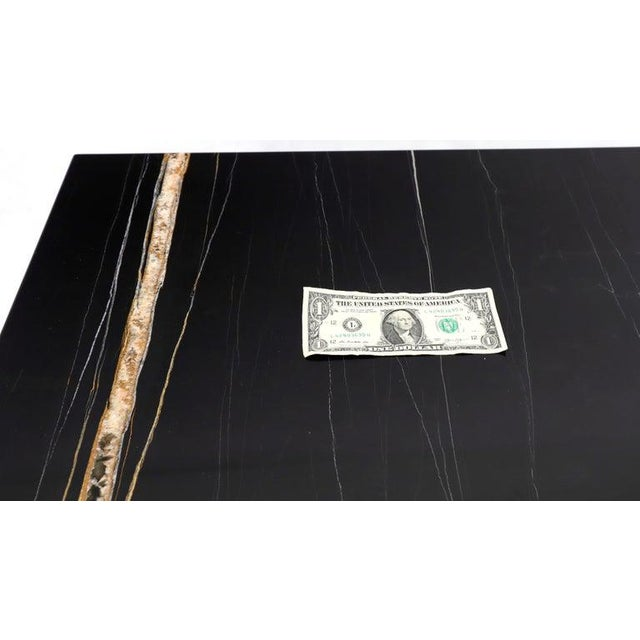 Black Marble Top Black Lacquer Contemporary Short Credenza Console For Sale - Image 9 of 13