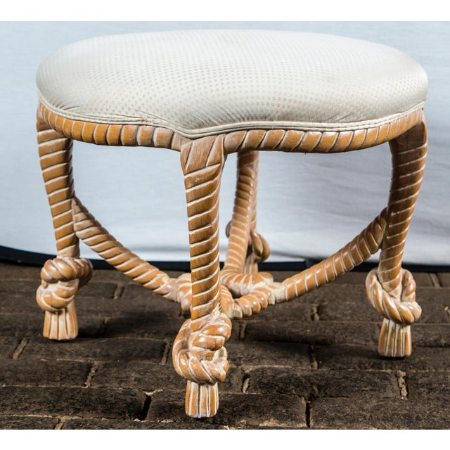 French Carved Wood Faux Rope Circular Bench, French Style For Sale - Image 3 of 11