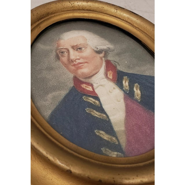 Early American Early 19th Century Hand Colored Miniature Portrait Engraving of King George III C.1804 For Sale - Image 3 of 7