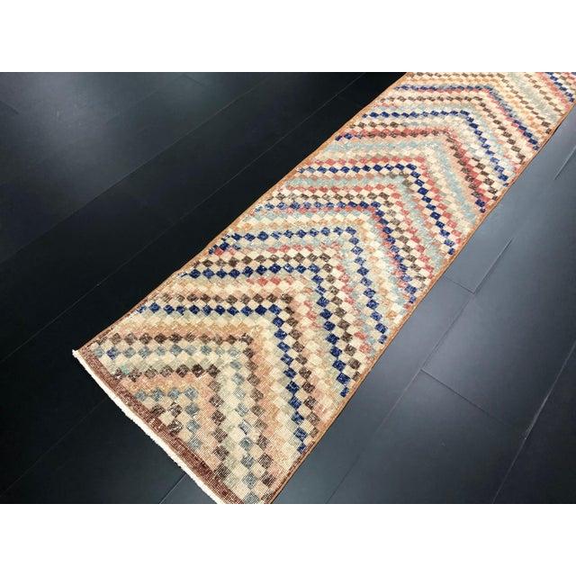 1960s Vintage Geometric Design Turkish Anatolian Wool Runner For Sale - Image 5 of 11