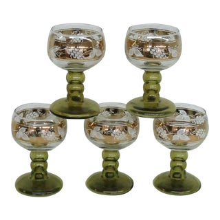 Roemer Grape Style Beehive Ribbed Stem Goblets Drinking Glasses - Set of 5 For Sale