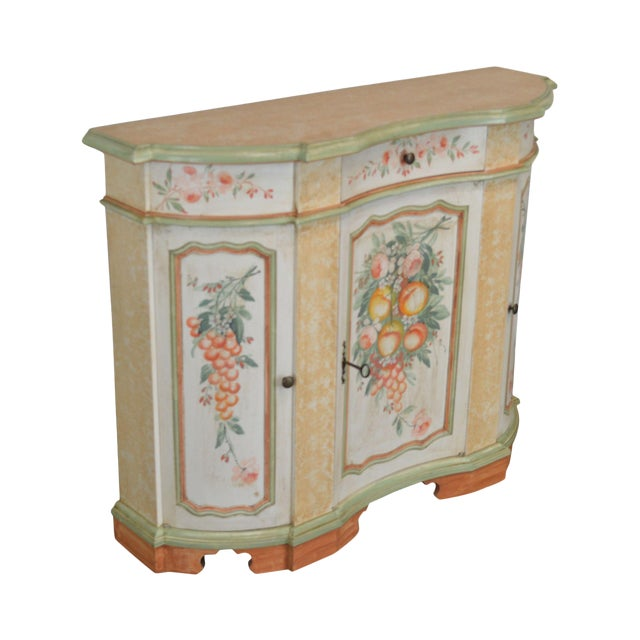 Italian Hand Painted Narrow Serpentine Console Cabinet For Sale