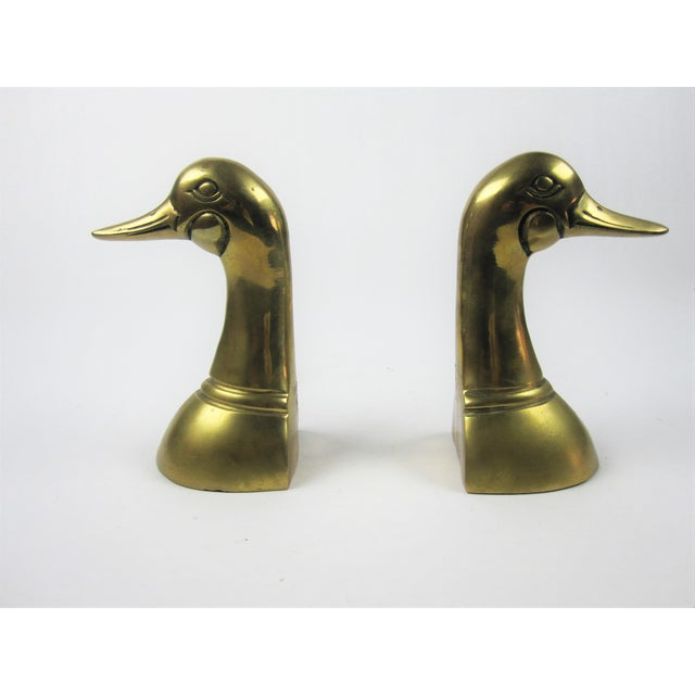 Vintage Brass Duck Bookends - a Pair For Sale - Image 4 of 4