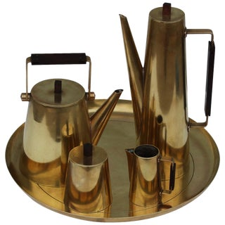 Modernist Italian Brass Tea Set For Sale