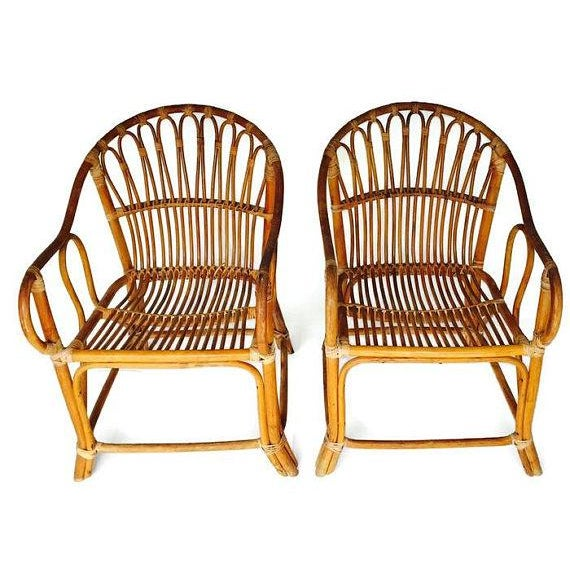 Boho Chic Mid Century Modern Bamboo Chairs Sculpted Bent Bamboo Franco Albini Style - a Pair For Sale - Image 3 of 11