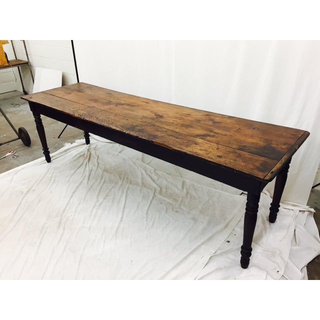 Gorgeous Antique Harvest Farm Table with 3 Wooden Board Top and Turned Legs. Extremely hard to find a wooden work table...