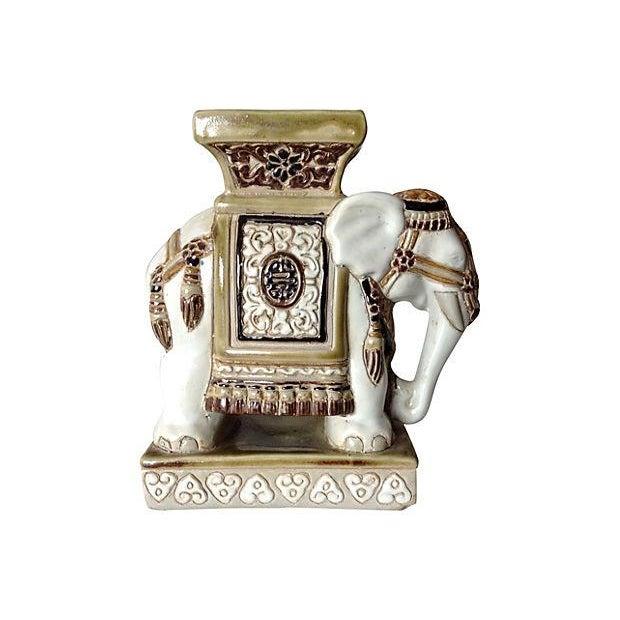 Porcelain Asian-Style Ceramic Elephant - Image 1 of 5