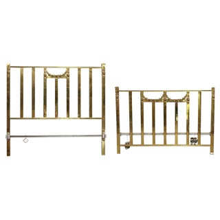 Vintage Mid-Century Full Size Brass Bedframe For Sale