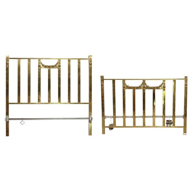 Vintage Mid-Century Full Size Brass Bedframe For Sale