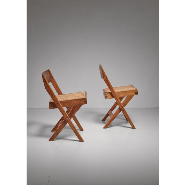 Mid-Century Modern Pierre Jeanneret pair of Chandigarh High Court library chairs, 1950s For Sale - Image 3 of 8