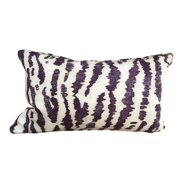 "Transitional Custom Down-Filled Lumbar Schumacher's ""Animaux"" Covered Pillow For Sale"