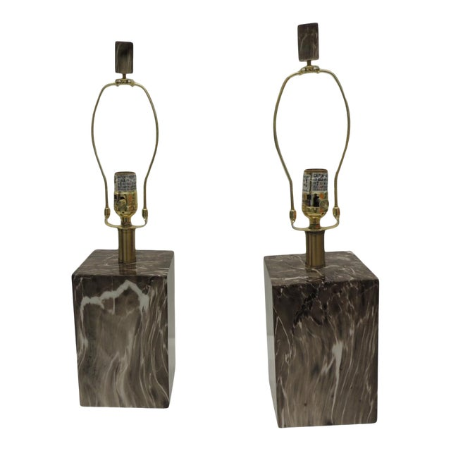 Pair of Marbelized Squared Table Lamps For Sale