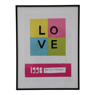 """1998 Yves Saint Laurent Framed """"Love"""" Poster For Sale"""